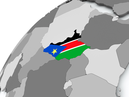 South Sudan with embedded flag on globe. 3D illustration. 스톡 콘텐츠 - 108752983