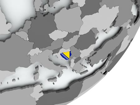 Bosnia on political globe with flag. 3D illustration. Stock Photo