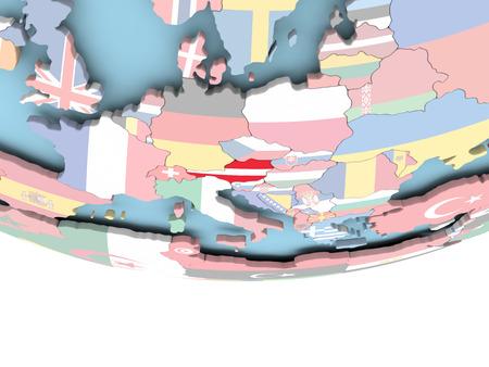 Austria on globe with flag. 3D illustration. Standard-Bild - 108672804