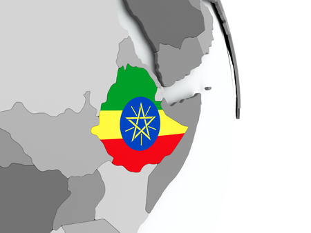 Ethiopia on political globe with embedded flag. 3D illustration.