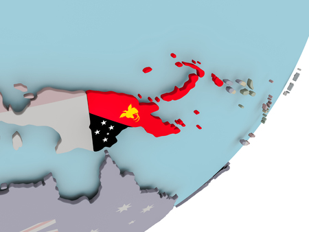 3D render of Papua New Guinea on political globe with embedded flag. 3D illustration. Stock Illustration - 108673553