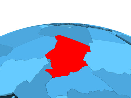 Map of Chad in red on blue political globe with transparent oceans. 3D illustration.