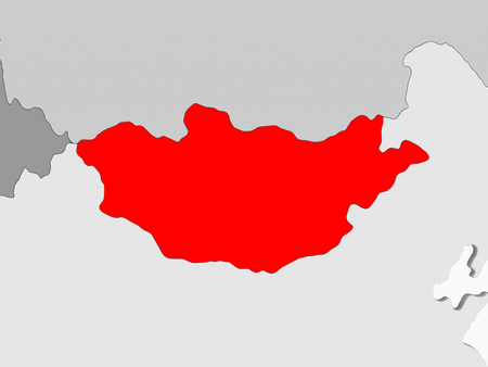 Mongolia in red on grey political map with transparent oceans. 3D illustration.