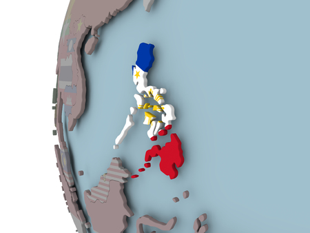 Philippines with embedded flag on political globe. 3D illustration.