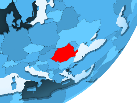Romania in red on blue political globe with transparent oceans. 3D illustration.