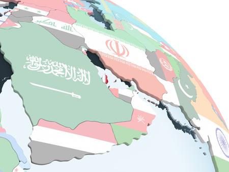 Qatar on bright political globe with embedded flag. 3D illustration.