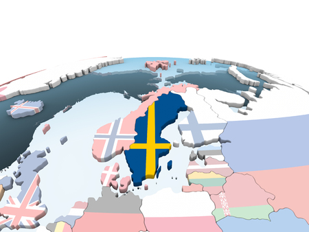 Sweden on bright political globe with embedded flag. 3D illustration. Stock Photo