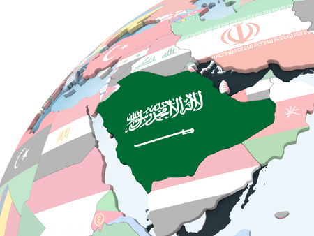 Saudi Arabia on bright political globe with embedded flag. 3D illustration. Stock Photo