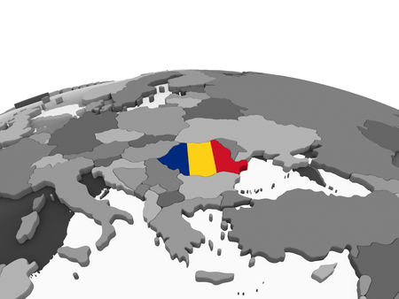Romania on gray political globe with embedded flag. 3D illustration. Imagens