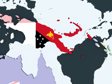 Papua New Guinea on bright political globe with embedded flag. 3D illustration. Stock Illustration - 108596635