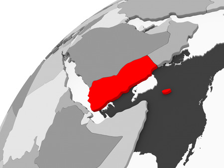 Map of Yemen in red on grey political globe with transparent oceans. 3D illustration.