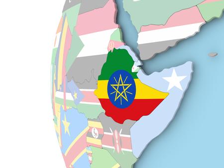 Ethiopia on political globe with flag. 3D illustration.
