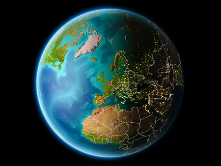 Belgium from orbit of planet Earth at night with highly detailed surface textures with visible border lines and city lights. 3D illustration.