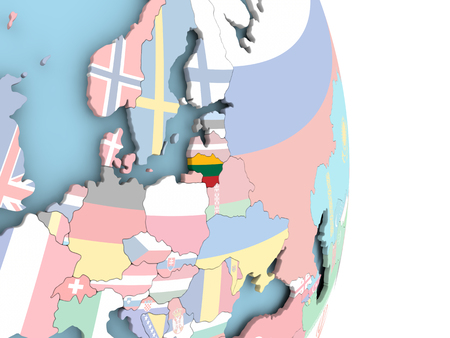 Lithuania with embedded flag on globe. 3D illustration. Stok Fotoğraf