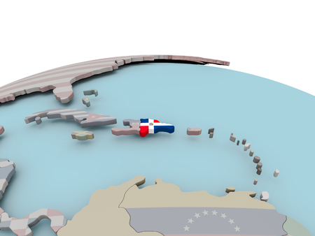 Dominican Republic with national flag on political globe. 3D illustration.