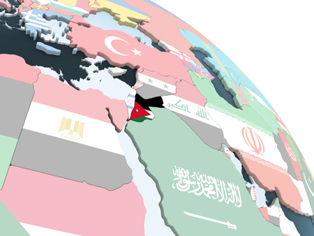 Jordan on bright political globe with embedded flag. 3D illustration. Stockfoto