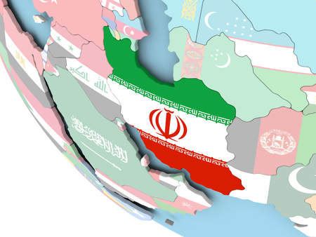 Iran on bright political globe with embedded flag. 3D illustration. Stockfoto