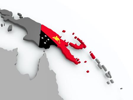 Papua New Guinea on globe with flag. 3D illustration. Stock Illustration - 108592113