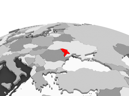 Moldova in red on grey model of political globe with transparent oceans. 3D illustration.