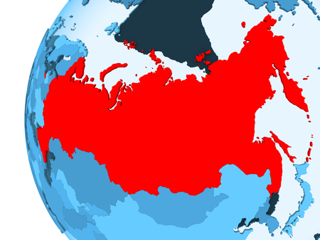 3D render of Russia in red on blue political globe with transparent oceans. 3D illustration.