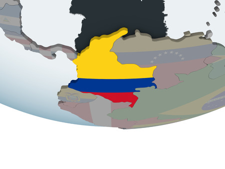 Colombia on political globe with embedded flag. 3D illustration.