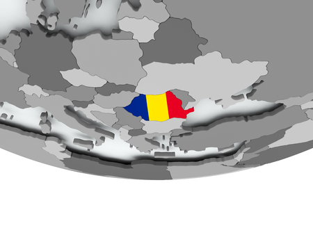 3D render of Romania with flag on grey globe. 3D illustration.