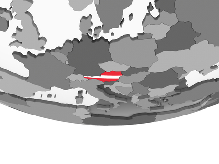 Austria on gray political globe with embedded flag. 3D illustration. Standard-Bild - 108592648