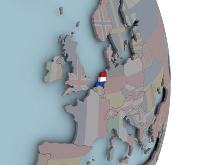 Netherlands with embedded national flag on political globe. 3D illustration.