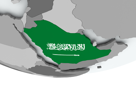 3D render of Saudi Arabia with flag on grey globe. 3D illustration.