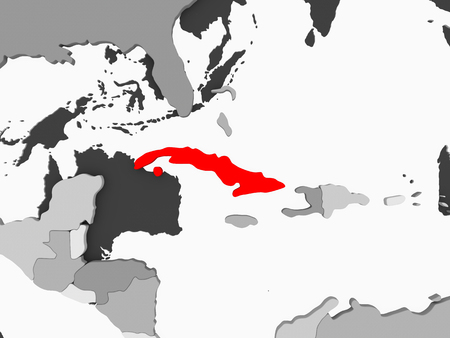 Cuba in red on grey political map with transparent oceans. 3D illustration.