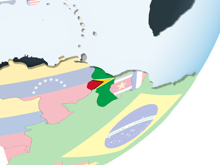 Guyana on bright political globe with embedded flag. 3D illustration.