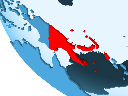 Papua New Guinea highlighted in red on blue political globe with transparent oceans. 3D illustration.