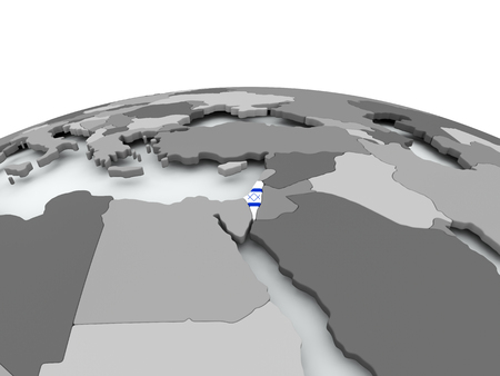 Israel on grey political globe with embedded flag. 3D illustration.
