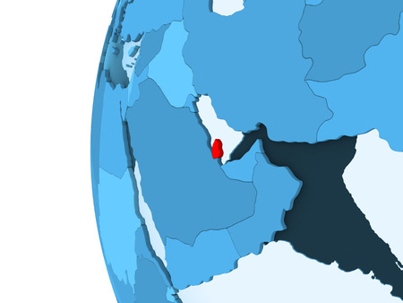 3D render of Qatar in red on blue political globe with transparent oceans. 3D illustration.