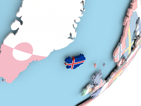 Illustration of Iceland on political globe with embedded flag. 3D illustration.