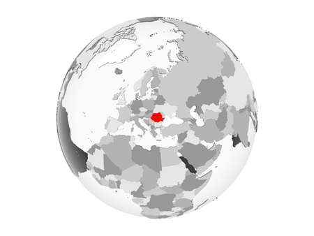 Romania highlighted in red on grey political globe with transparent oceans. 3D illustration isolated on white background.