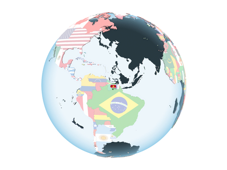 Suriname on bright political globe with embedded flag. 3D illustration isolated on white background. Stockfoto