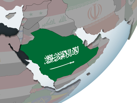 Saudi Arabia on political globe with embedded flag. 3D illustration.