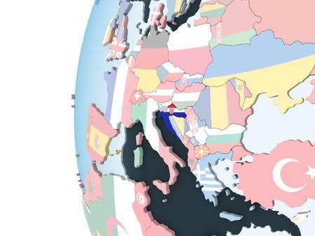 Croatia on bright political globe with embedded flag. 3D illustration.