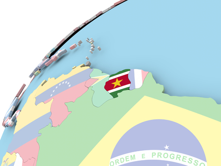 Map of Suriname on political globe with embedded flag. 3D illustration.