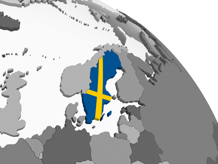 Sweden on gray political globe with embedded flag. 3D illustration.