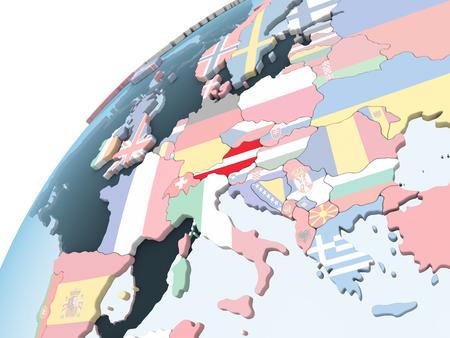 Austria on bright political globe with embedded flag. 3D illustration. Standard-Bild - 109027238