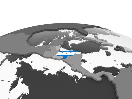 Honduras on gray political globe with embedded flag. 3D illustration. Stock Photo