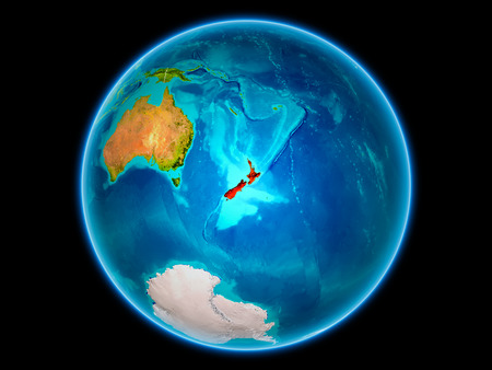 New Zealand in red with visible country borders from space. 3D illustration.