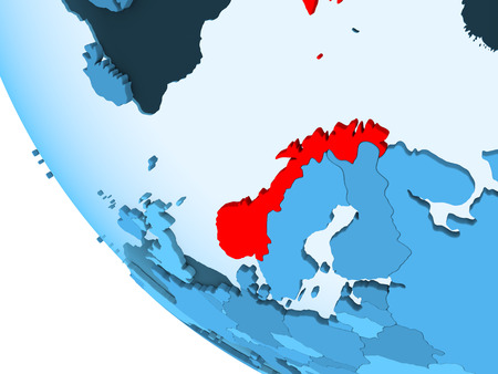 Norway highlighted in red on blue political globe with transparent oceans. 3D illustration.