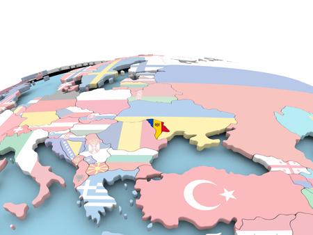 Moldova on political globe with embedded flags. 3D illustration. Stock Illustration - 109027778
