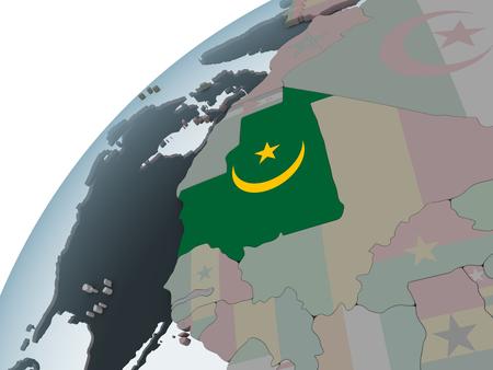 Mauritania on political globe with embedded flag. 3D illustration. Фото со стока