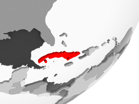 Illustration of Cuba highlighted in red on grey globe with transparent oceans. 3D illustration. 写真素材