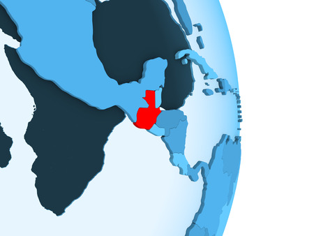 Closing in on Kyrgyzstan on simple political globe. 3D illustration. Stock Photo