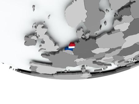3D render of Netherlands with flag on grey globe. 3D illustration. Stockfoto